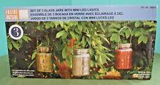 Inside Outside Garden Set of 3 Glass Hanging Mason Jars w/ Mini LED Lights Decor