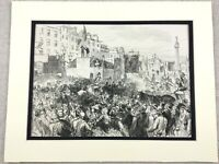 1875 Antik Aufdruck Daniel O'Connell Centenary Sackville Strasse Dublin Irland