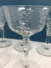 Wine Cocktail Glassware Antique Stemmed Fine Cut Glass or Crystal Coupe Set of 5