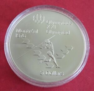 CANADA 1975 MONTREAL 1976 OLYMPIC GAMES $5 SILVER - JAVELIN