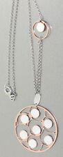 Chain and Large Pendant Silver 925 Rose Gold with Mother of Pearl Necklace