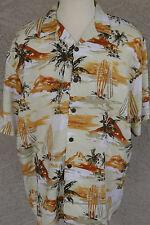 New Hilo Hattie Hawaiian Shirt Sz XL Surfboard Tropical Palm Matched Pocket NWT