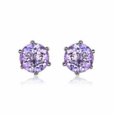 0.9ct 5mm Stunning Round Genuine Amethyst Sterling Silver Stud Fashion Earrings