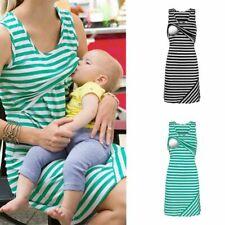 Shirt Dress Maternity Nursing Women Sleeveless Mom Breastfeeding Striped Dresses