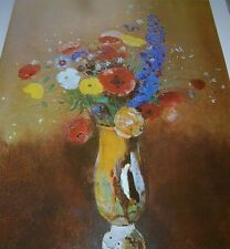 Painted VASE OF FLOWERS Odilon Redon Color Print