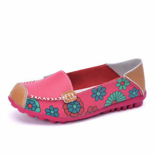 Womens Leather Hollow Out Walking Flats Casual Outdoor Slip On Moccasins Shoes
