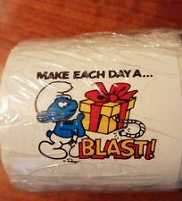 "Vintage 80s Peyo Smurf Stickers ""MAKE EACH DAY A BLAST"" sealed roll NOS Scarce!"