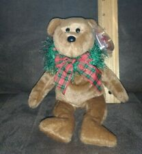 "TY Beanie Baby HOLLYDAYS TEDDY BEAR W/ CHRISTMAS WREATH 8"" Stuffed ANIMAL Toy"