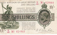 T25 Fisher 1st issue 10/- ten shilling treasury note TR7a dot variety VF