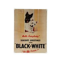 """Plaque en Métal 15x20 """"Black & White"""" Rétro Vintage Publicitaire Chien Terrier"""