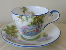 "AYNSLEY BONE CHINA ENGLAND ""BLUEBELL TIME"" 1040's CUP AND SAUCER"