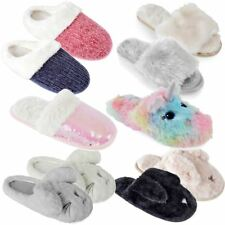 Womens Ladies Mule Slippers Slip On Fluffy Plush Faux Fur Soft Warm Flats Indoor