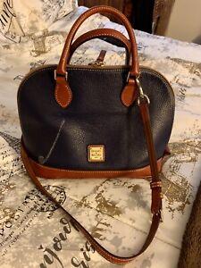 Dooney & Bourke Navy Pebble Leather Zip Zip Satchel