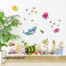 Shark Turtle Sea World Wall decals Bathroom decor kids nursery stickers mural