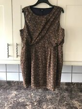 Ladies Size 20 Brown Miv Floaty Lined Knee Length Dress From F&F