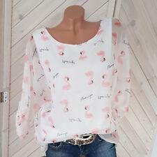 Flamingo Bluse rosa -weiß Tunika Carmen off Shoulder Gr. 36 38 40 42 one size H5