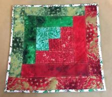 Patchwork Quilt Table Pad, Log Cabin, Contemporary Prints, Green, Red, Gold