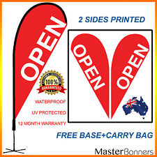 Red OPEN Teardrop Flag Banner Kit Outdoor Indoor Sign