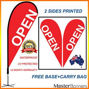 Red OPEN Teardrop Flag Banner Kit Outdoor Indoor Sign