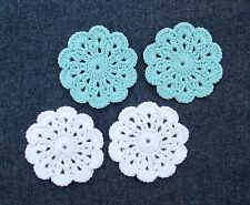 Hand-Crocheted Mini Doily Coasters, Set of 4, Ocean Blue, Cloud White, New!