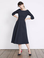 New with tags Boden HOLLY textured midi dress in Navy Blue jersey size 12UK 8US