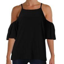 INC Cold Shoulder Top Large International Concepts Solid Black Stretch New