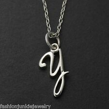 Tiny Initial Letter Y Necklace - 925 Sterling Silver - Name Y Letter Charm *NEW*