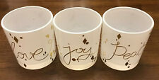 Love, Joy, Peace Candle Holder Set. Nwot. White/gold Letters. 3�height.