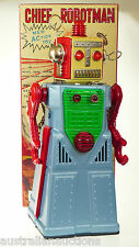 CHIEF  ROBOTMAN BLUE ROBOT GREAT COLLECTIBLE MYSTERY ACTION SPINS ANTENNA
