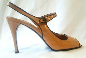 PRADA Gorgeous Blush Pink Patent Leather Peep Toe Slingback Stiletto Heels Sz 41