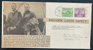 1933 Akron OH USA Piccard Balloon Stratosphere Flight Airmail Cover