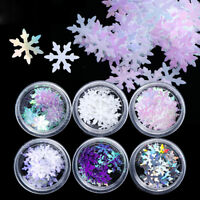 6 Boxes 3D Nail Glitter Sequins Holographic Snowflake DIY Nail Art Decoration