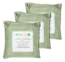 Natural Bamboo Charcoal Air Purifying / Cleaning Bags Deodorizer, Green - 3x200g