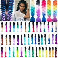 """24"""" Braiding Ombre Rainbow Hair Extensions Synthetic Jumbo Braids Any Colour UK"""