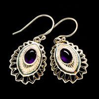"Amethyst 925 Sterling Silver Earrings 1 1/4"" Ana Co Jewelry E404704F"