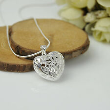 Fashion Women Empty Heart 925 Sterling Silver Pendant Necklace Chain Jewelry D3