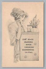 """Each Passing Hour"" Beautiful Woman w Hourglass—Antique Girl PC Fairman Co Pub"