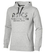 Asics Men's Sports Hoodie Training Club Pullover Long Sleeve Hoodie - Grey - New