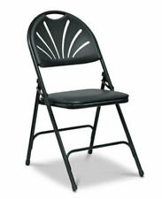 More details for folding padded faux leather chairs black