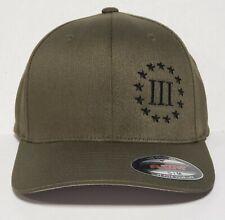 Three Percenter 3% Molon Labe Embroidered FLEXFIT Olive Cap Hat, 6277