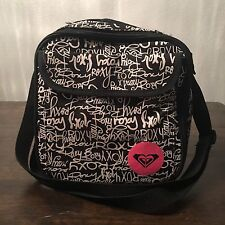 ROXY INSULATED COOLER SCHOOL LUNCH BOX BAG TOTE ZIPPERED BLACK WHITE PINK SCHOOL