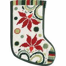 New listing Alice Peterson Stitch & Zip Needlepoint Mini Stocking Kit - Modern Poinsettia