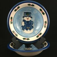 """Set of 2 Soup Bowls 8 1/4"""" Libbey Christmas Snowman Holly Berries Blue LIE15"""
