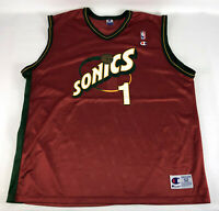 Seattle Sonics #1 Jersey Champion Red 1990's Size 52