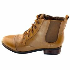 Softwalk Womens Miller Ankle Boots Brown Stacked Heels Side Zip Lace Up 8 N New
