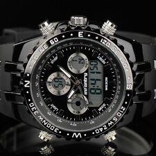INFANTRY Herren Analog Digitaluhr Armbanduhr Uhr groß Stoppuhr LED Sport Schwarz