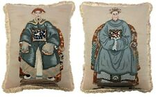 Pair of Wool Needlepoint Chinese Emperor and Empress Pillow with Bush Tassel