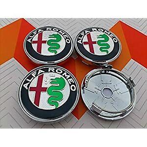 4 Tappi Coprimozzo ALFA ROMEO 147 156 166 MITO GT 50 mm Fregi Cerchi in Lega