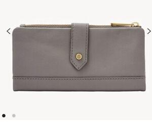 Fossil Lainie Clutch Wallet Soft Grey - Brand New Leather RP£69 Genuine