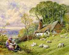 Country Girls Sheep Cottage 8x10 Print 2613 Spring Time by William S Coleman